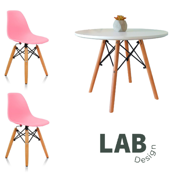 Set mesa + 2 sillas Eames KIDS Rosa