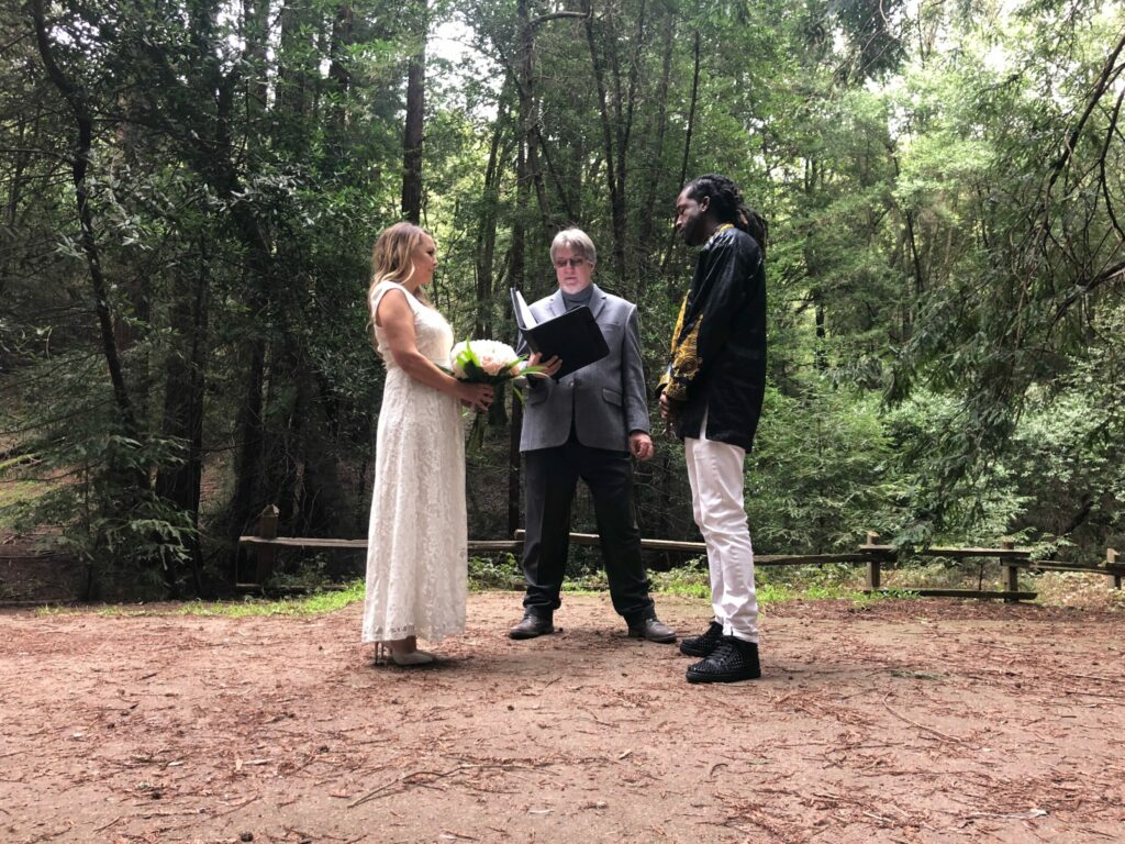A photo of a couple having an Elopement in the Redwoods