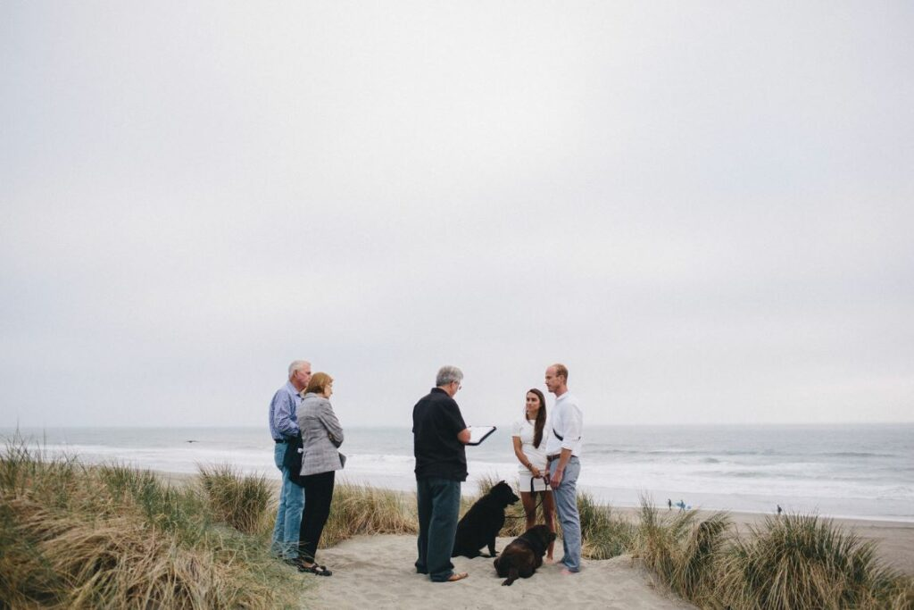 A photo of a couple's Elopement on Ocean Beach in San Francisco CA