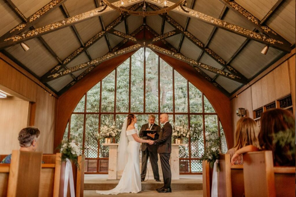 A photo of a couple getting married at the Historic Chapel of Our Lady in the Presidio San Francisco
