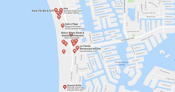 Marco Island Restaurant Map