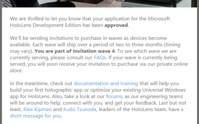 Microsoft HoloLens Development Edition Approved!