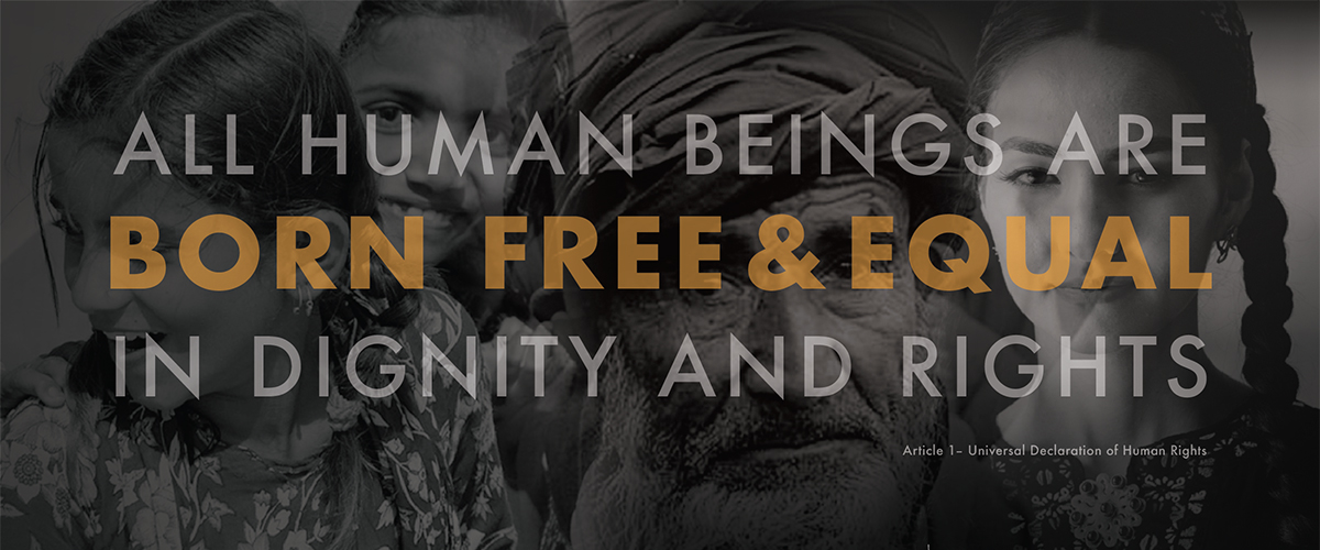 "Photo of 4 faces. Overlaid with text reading ""All Human Beings Are Born Free & Equal in Dignity and Rights"""