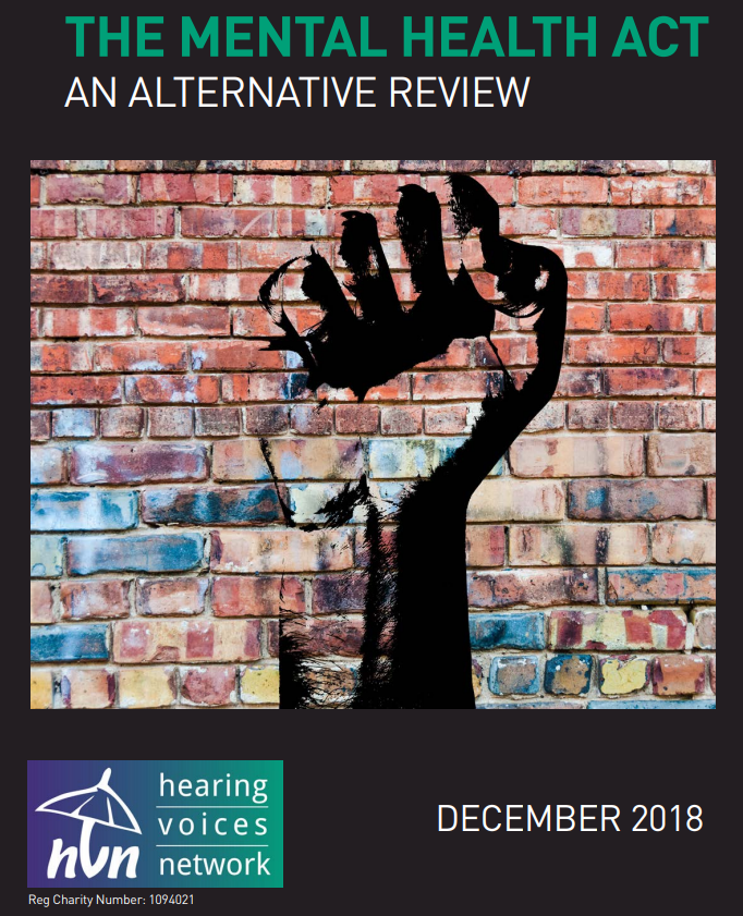 An image of a fist against a red brick wall. Mental Health Act Alternative Review by the Hearing Voices Network December 2018.