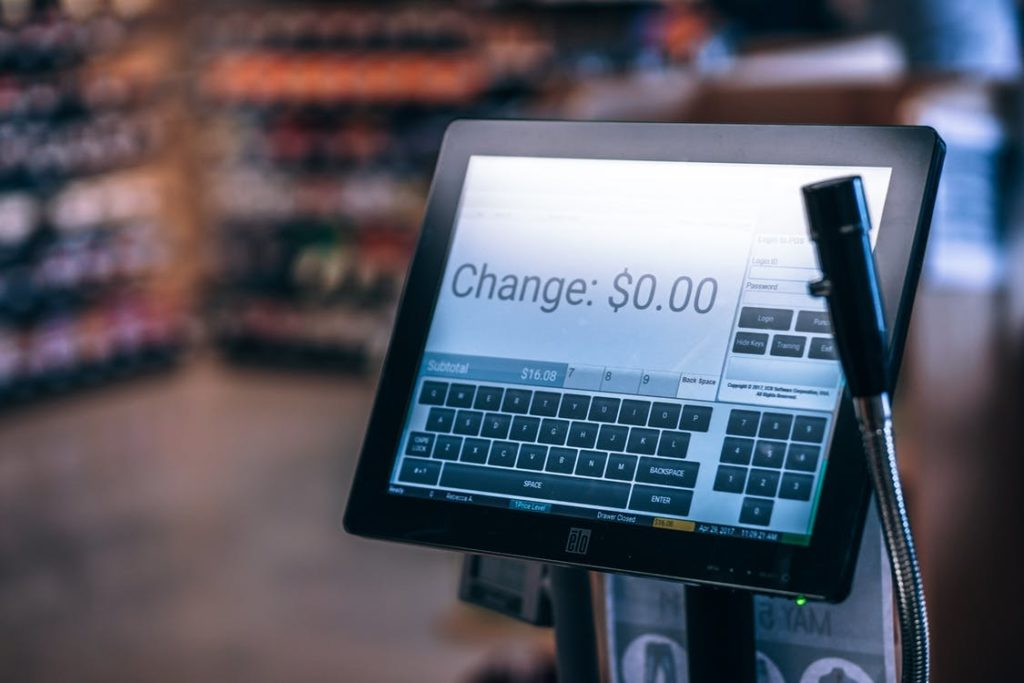 Cash register. Text Change equals $0.00.