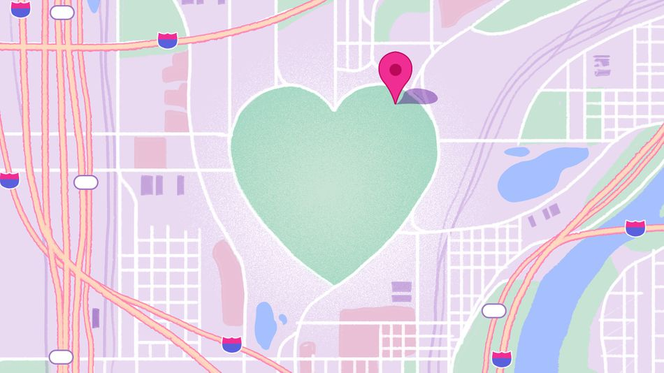 Map of a city with a big green heart in the middle.