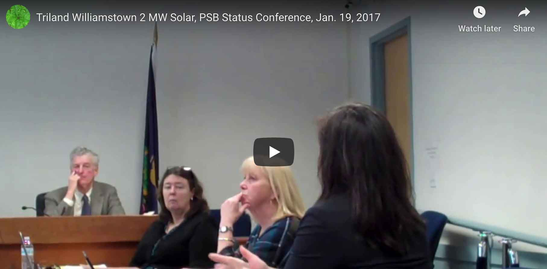 Triland Partners 2 MW Solar, Williamstown. PSB Status Conference.