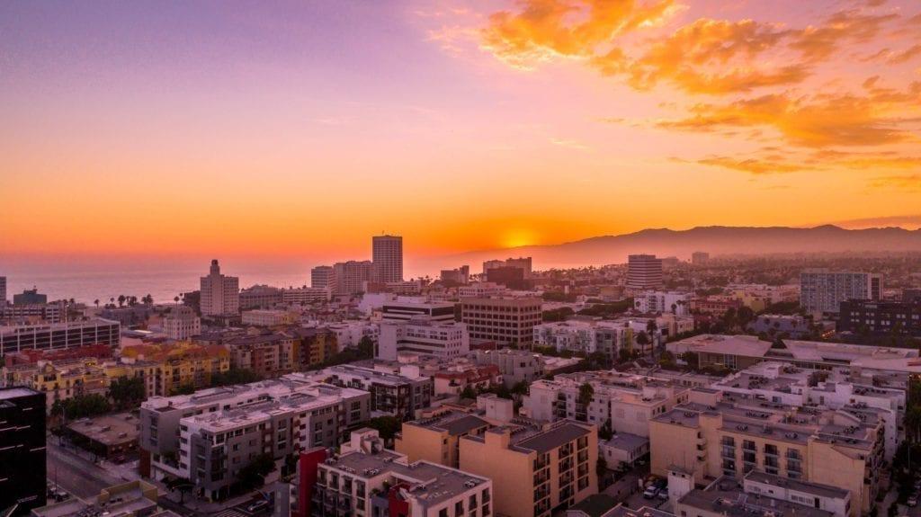 A sunsent skyline photo of Orange County.