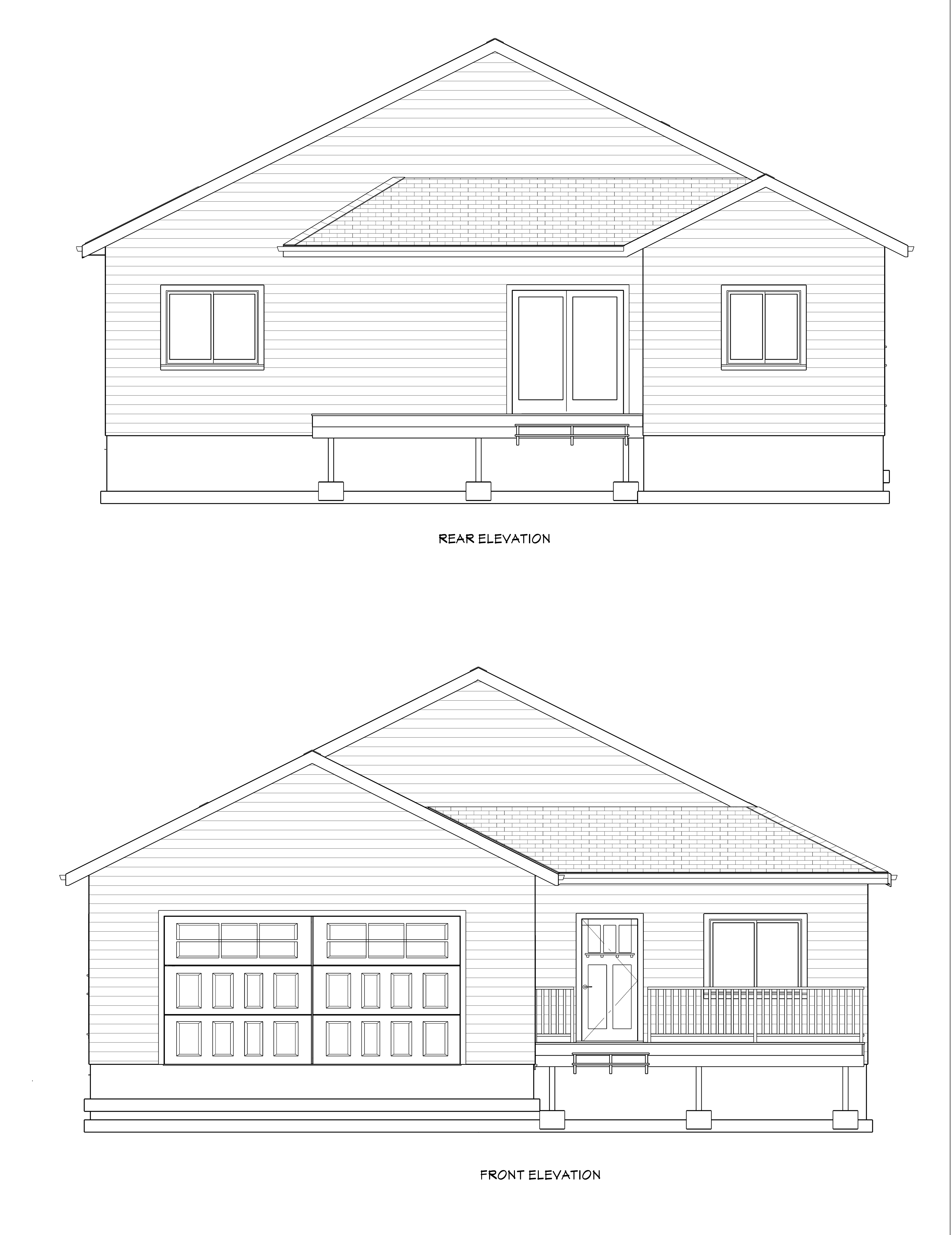 Lot 4 Emerald Estates(1348 sq ft)Fornt & rear elevations and wal