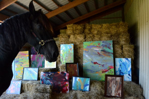 paintings in the hay with Justin