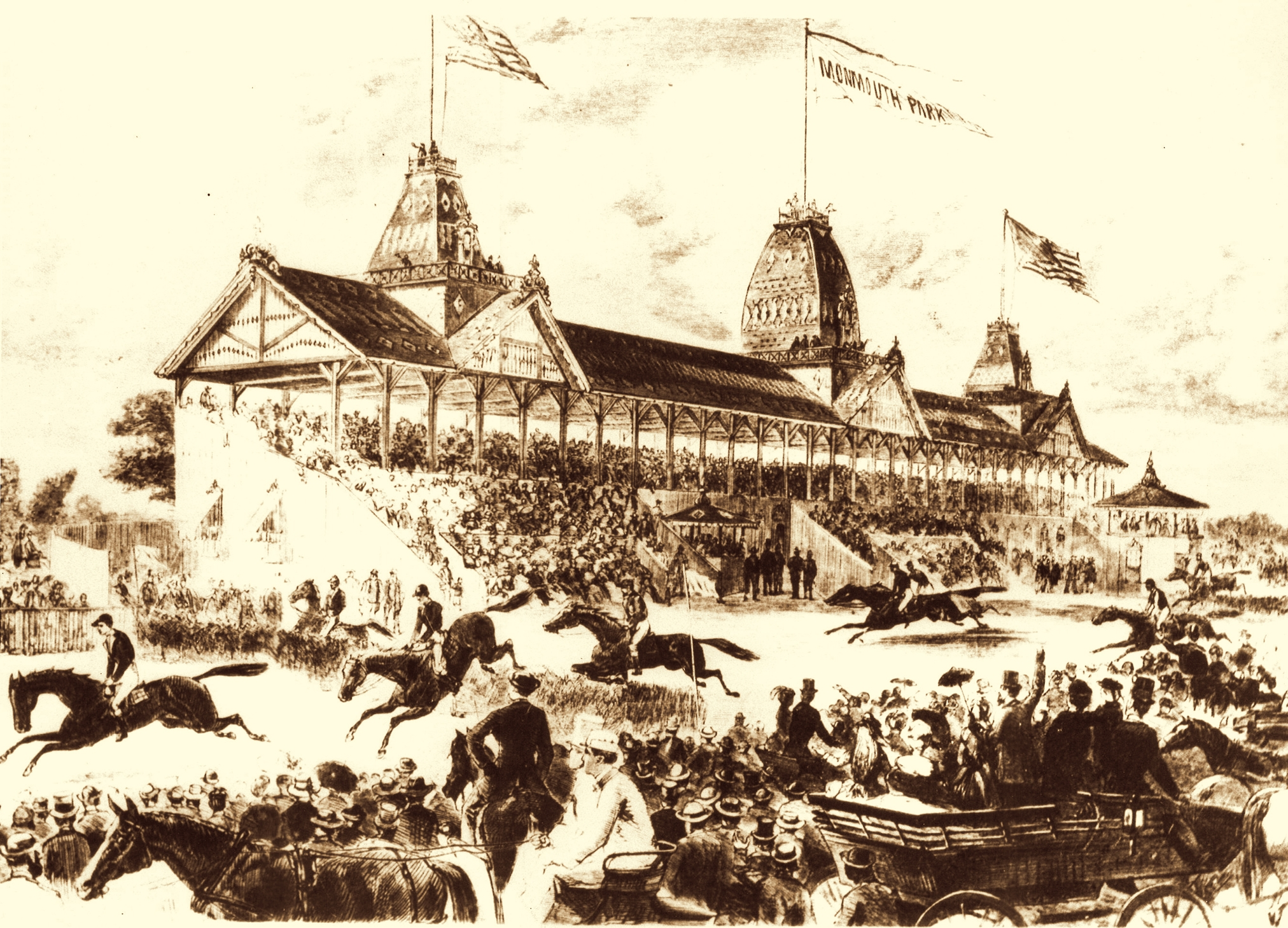 Graphic Illustration of Monmouth Park in Oceanport NJ from early 1900