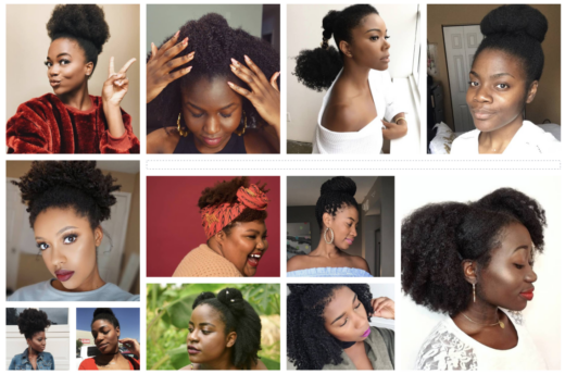 collage of natural hair