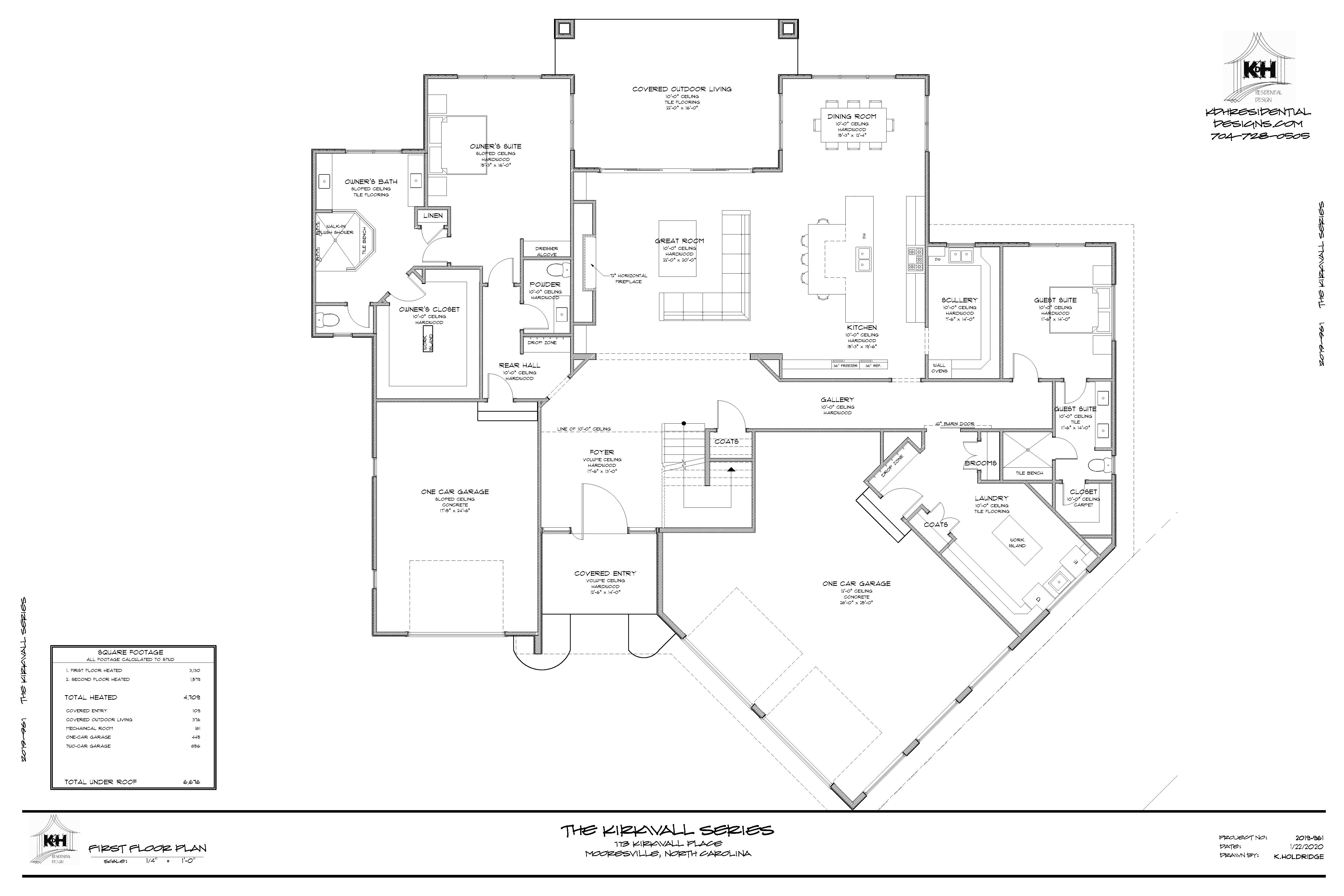 Floor Plan (Main Level) for Proposed Home - 113 Kirkwall Place