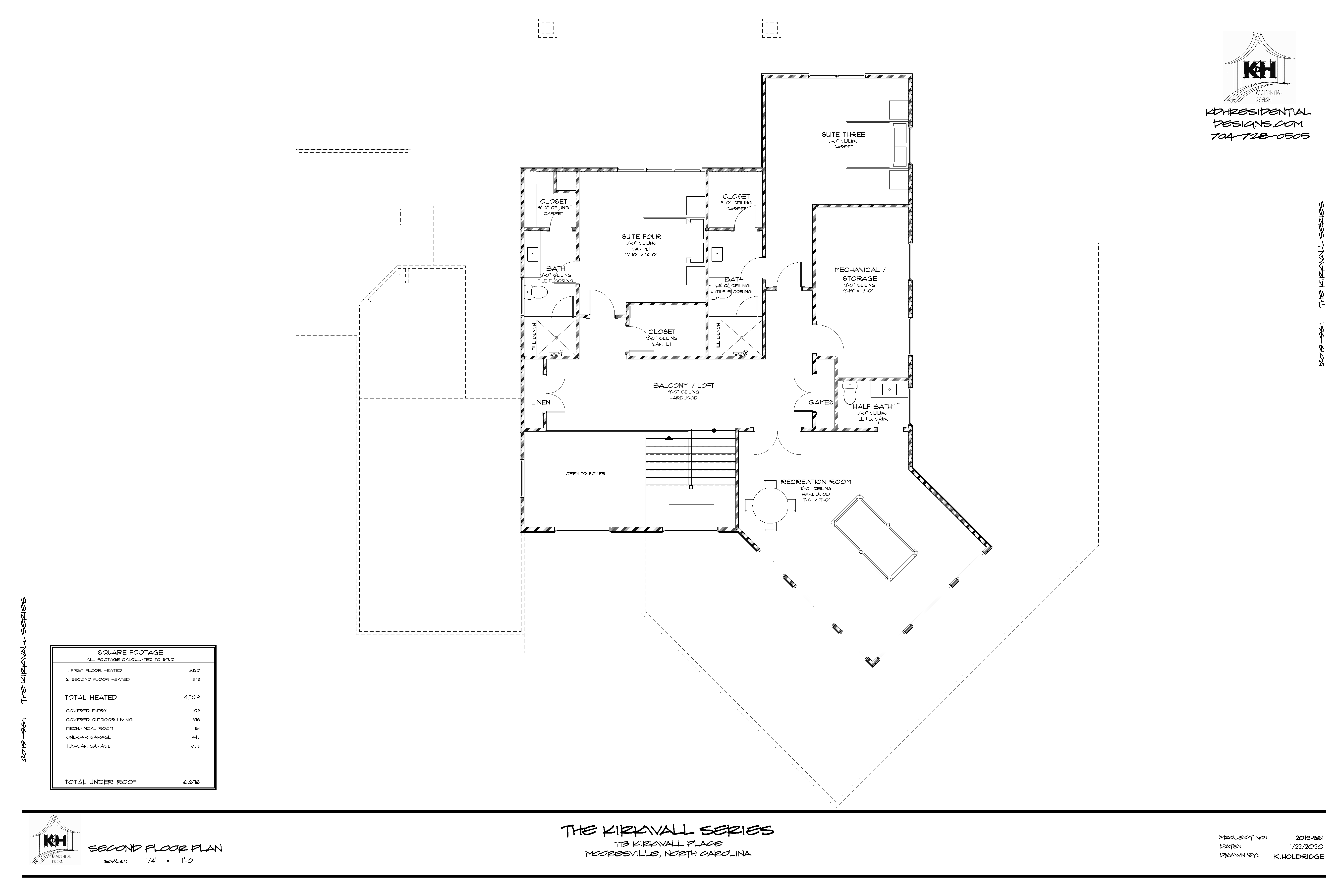 Floor Plan (Upper Level) for Proposed Home - 113 Kirkwall Place