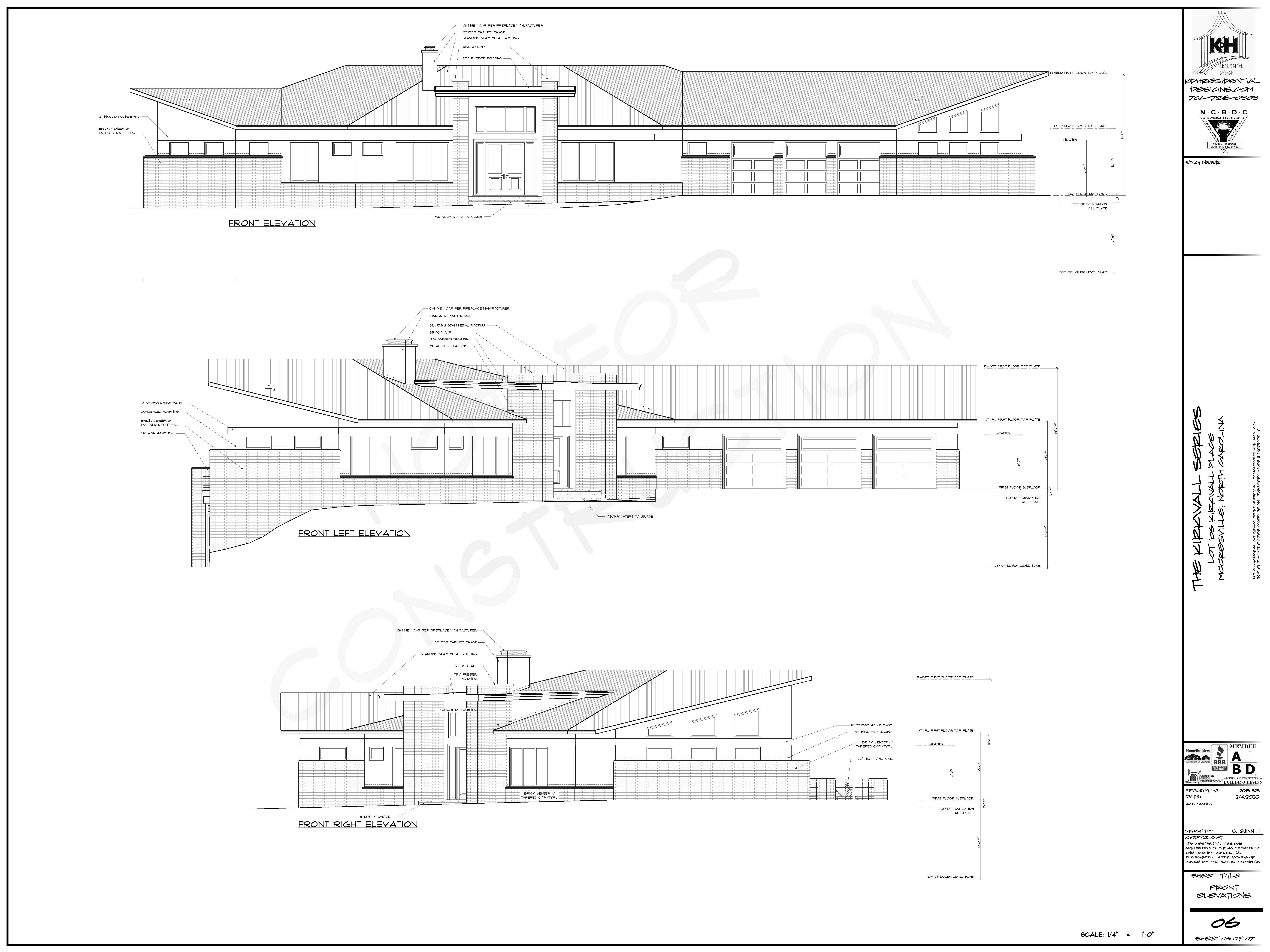 Front Elevations for Proposed Home