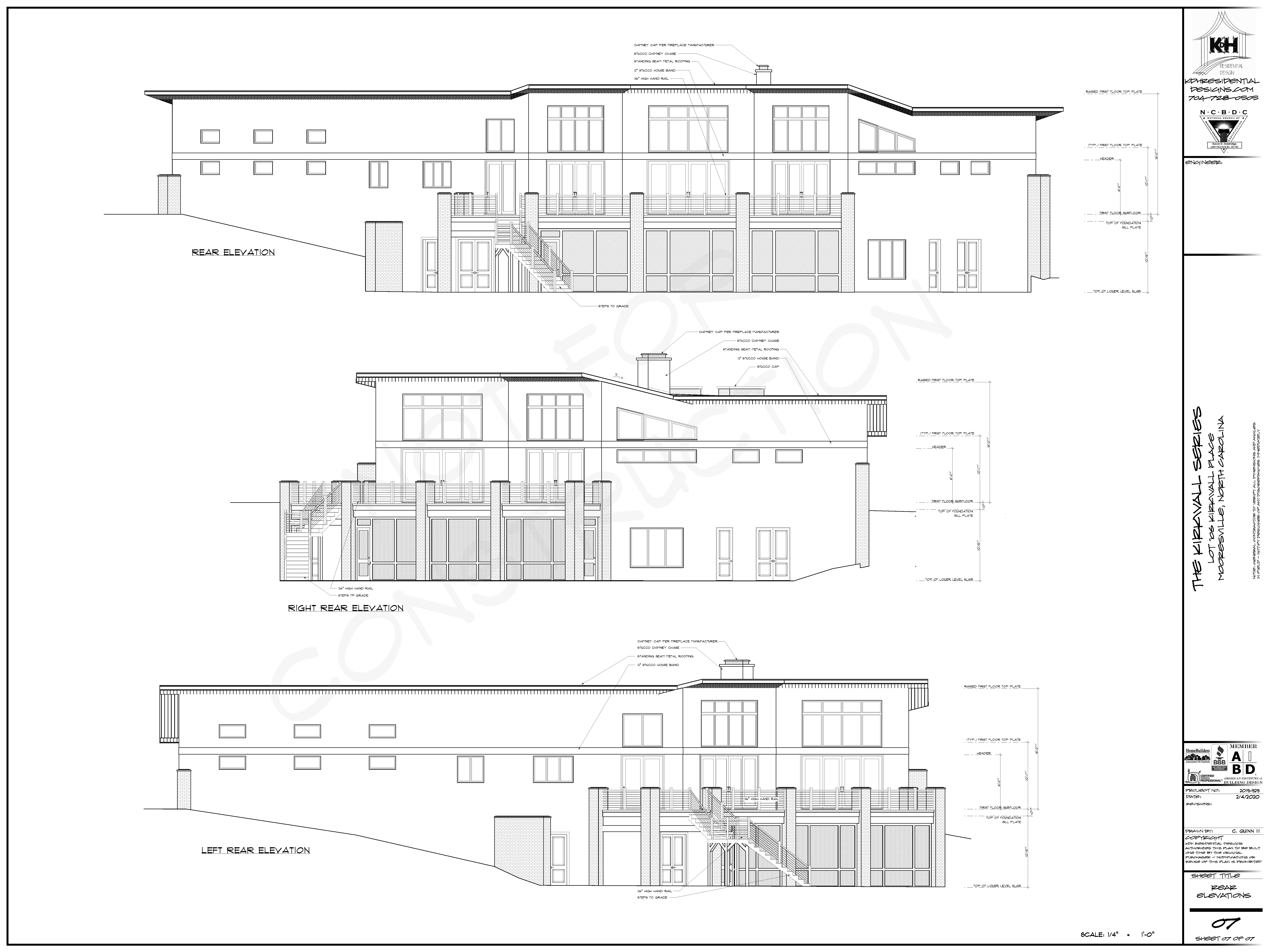 Rear Elevations for Proposed Home