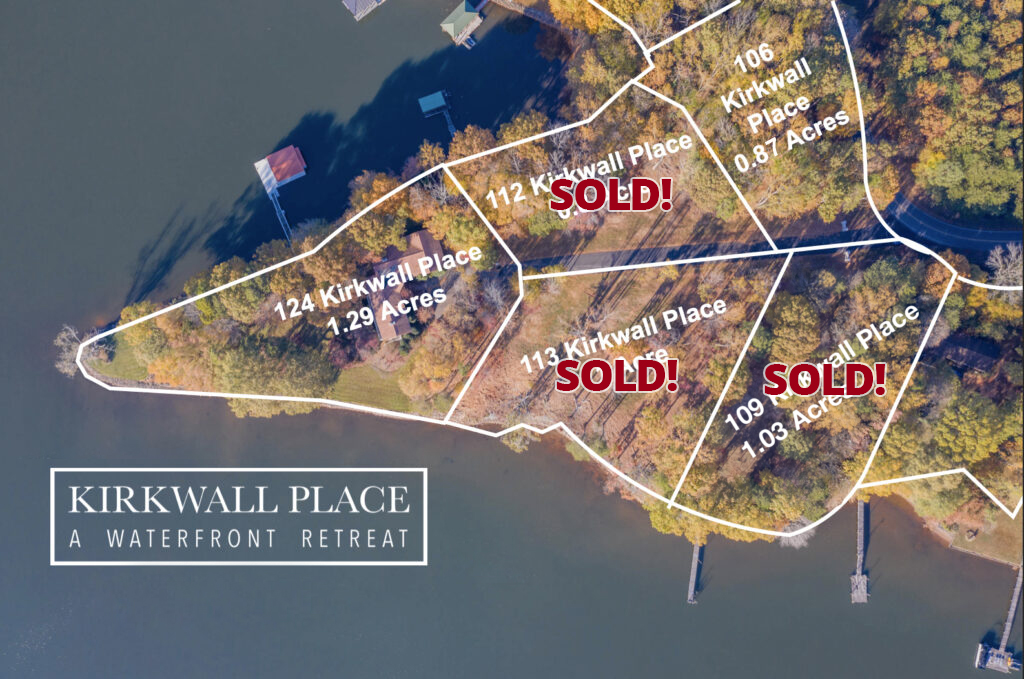 Kirkwall Place Aerial Map, lot 124 available, lot 106 available, lot 109 sold, lot 112 sold, lot 113 sold