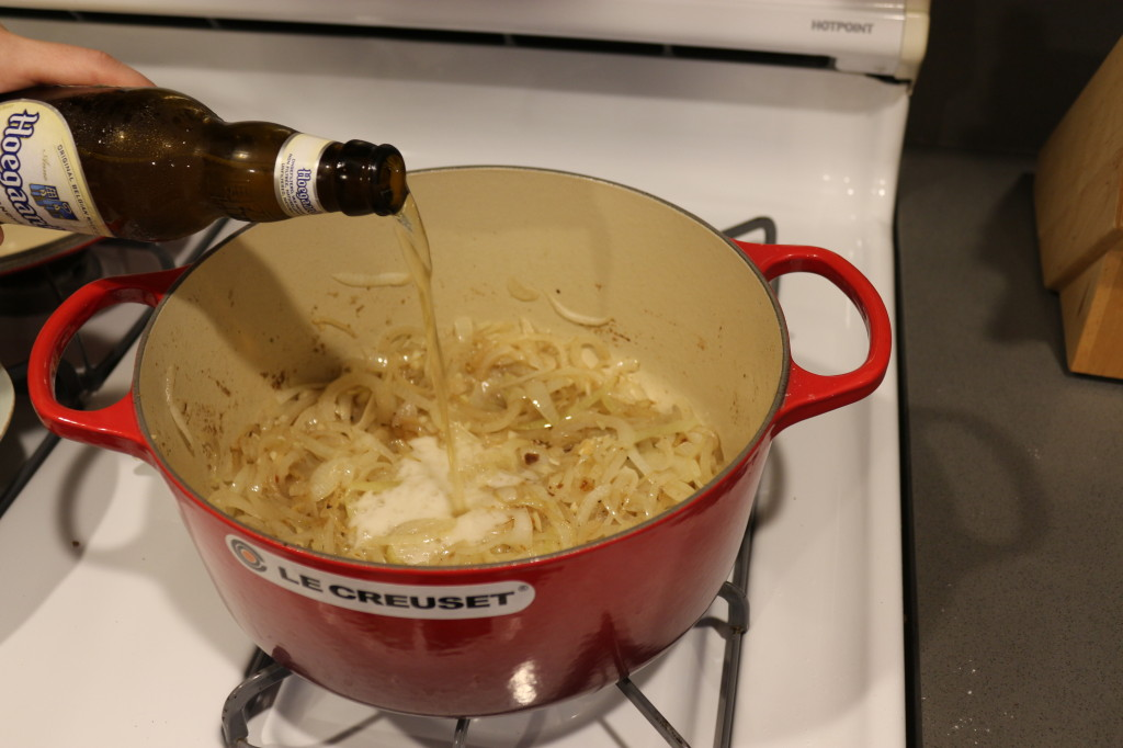Adding the beer