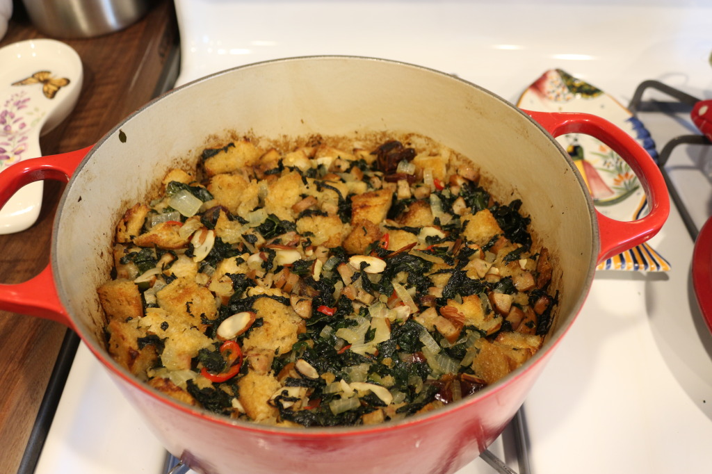 Kale Sausage Stuffing with Dates and Almonds
