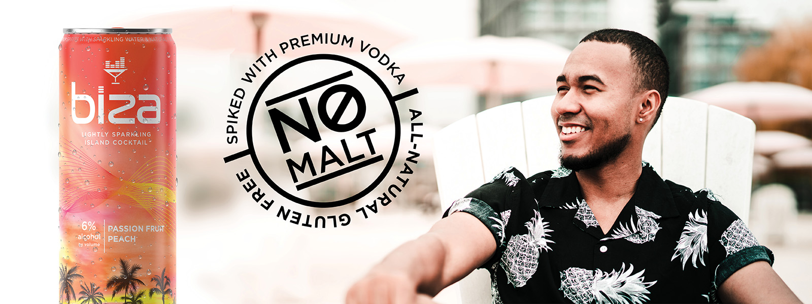 Guy sitting on a lawn chair looking at a large Biza can and a symbol that says no malt.