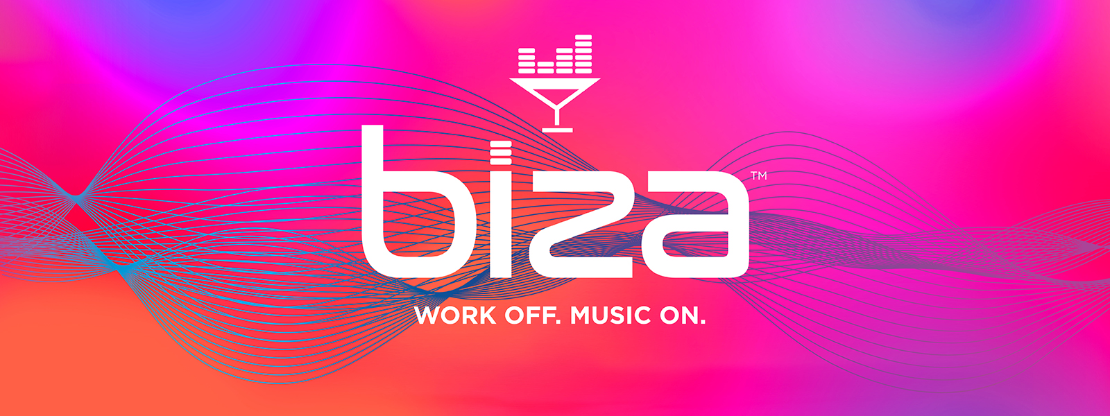 Biza Logo on a color background showing music waves.