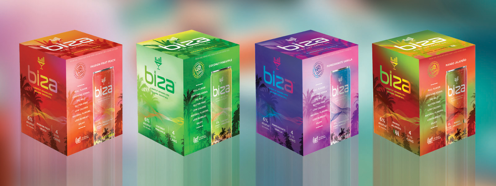 Biza lightly sparkling island cocktails come in 4-pack boxes.