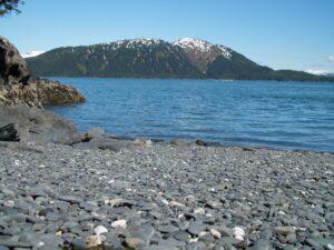 Stone beaches of coast Alaska