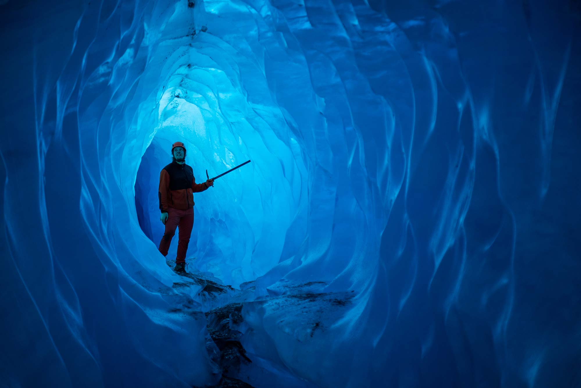 Blue Ice Cave on Helicopter Trip