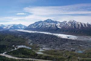 Arial view of Matanuska Glacier