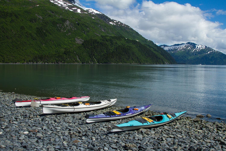 sea kayaks on the Alaskan coast