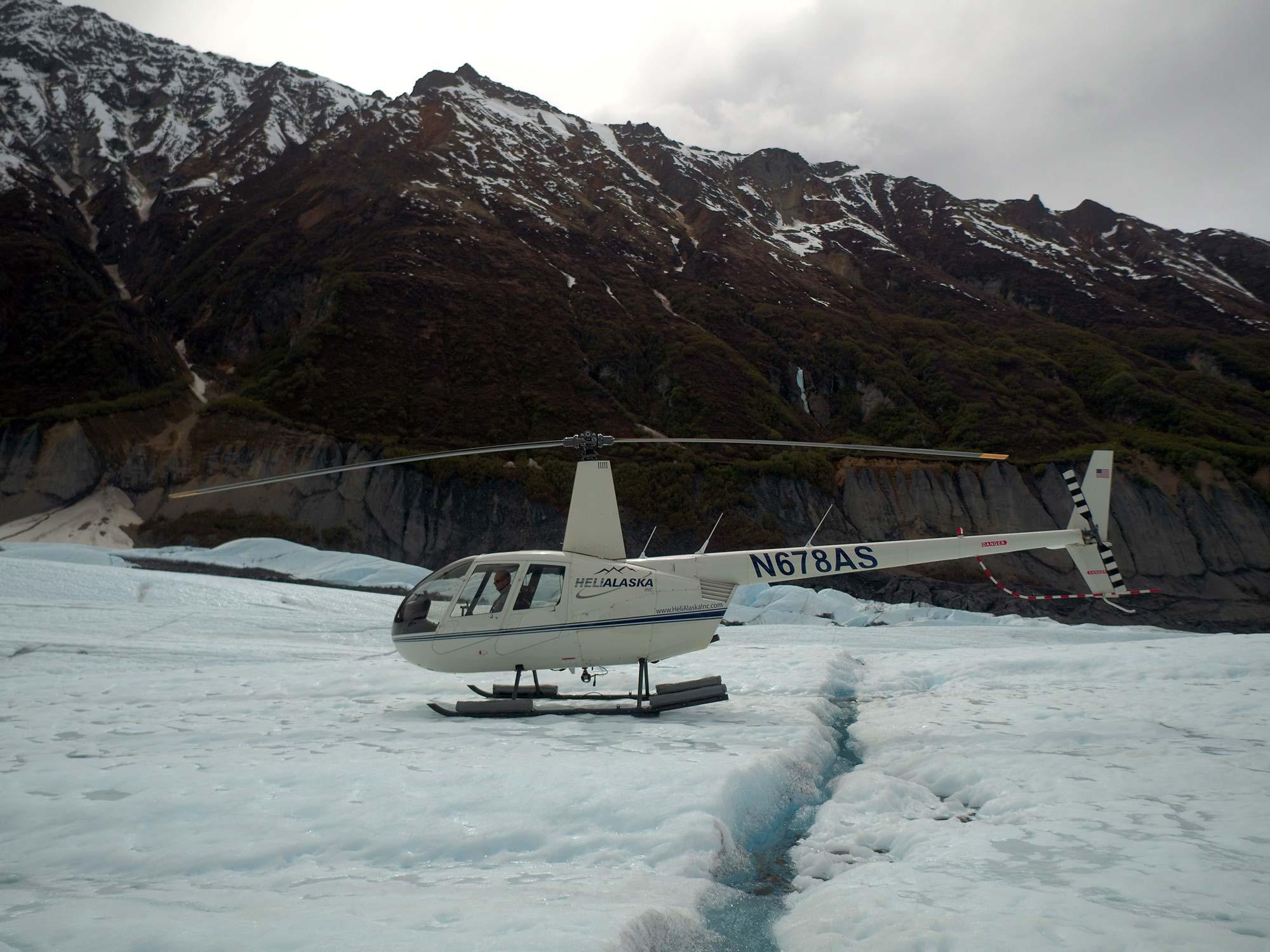 Helicopter on Glacier River