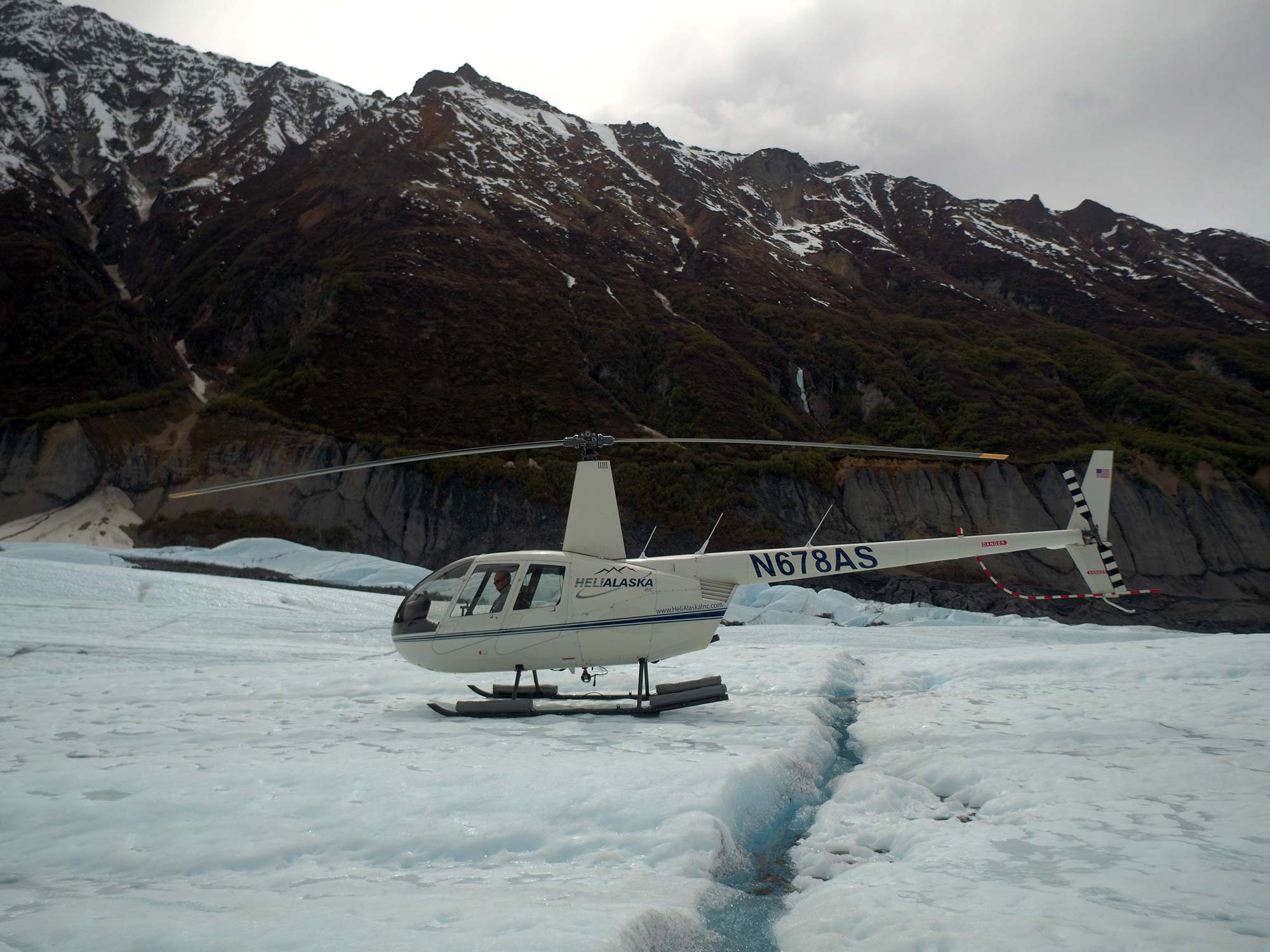 Helicopter on Glacier River