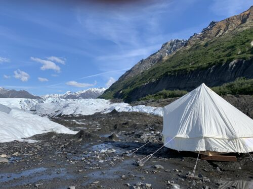 Canvas tent overnight on a glacier