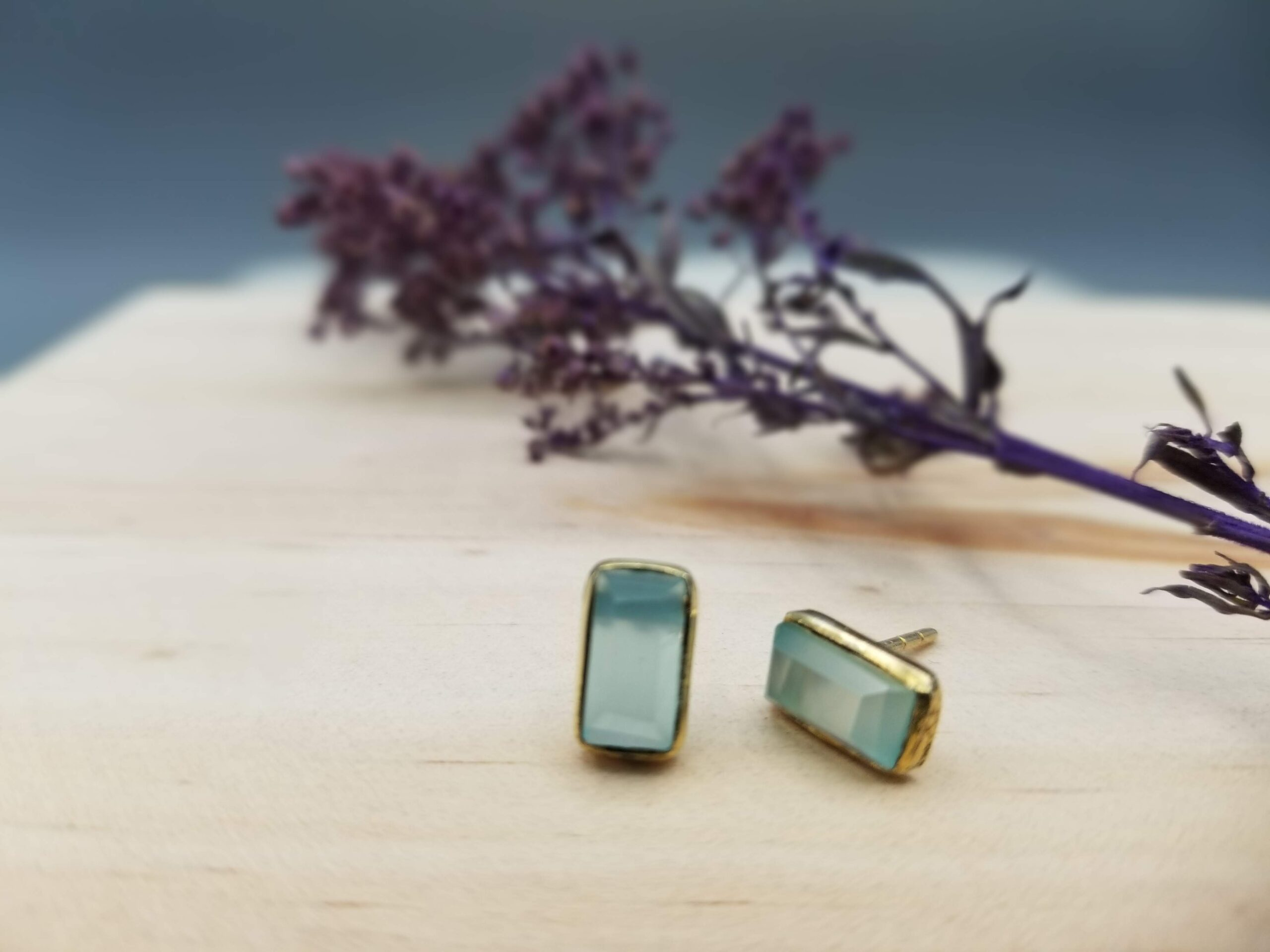 gold plated chalcedony stone studs with an art deco vibe