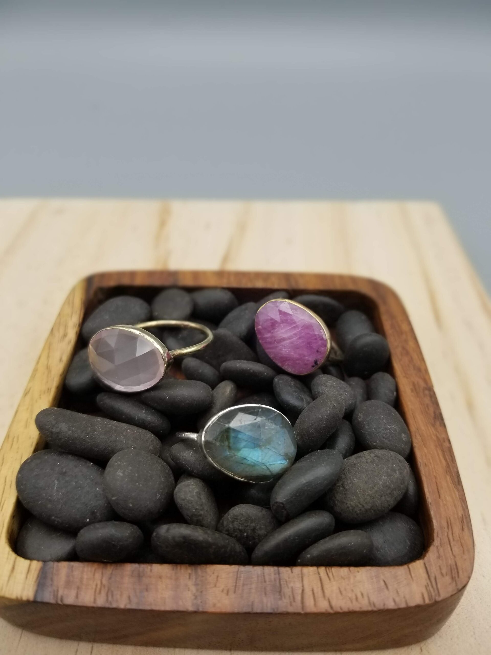three rings with labradorite, wonder sapphire and rose quartz, hand crafted and in a minimalist setting