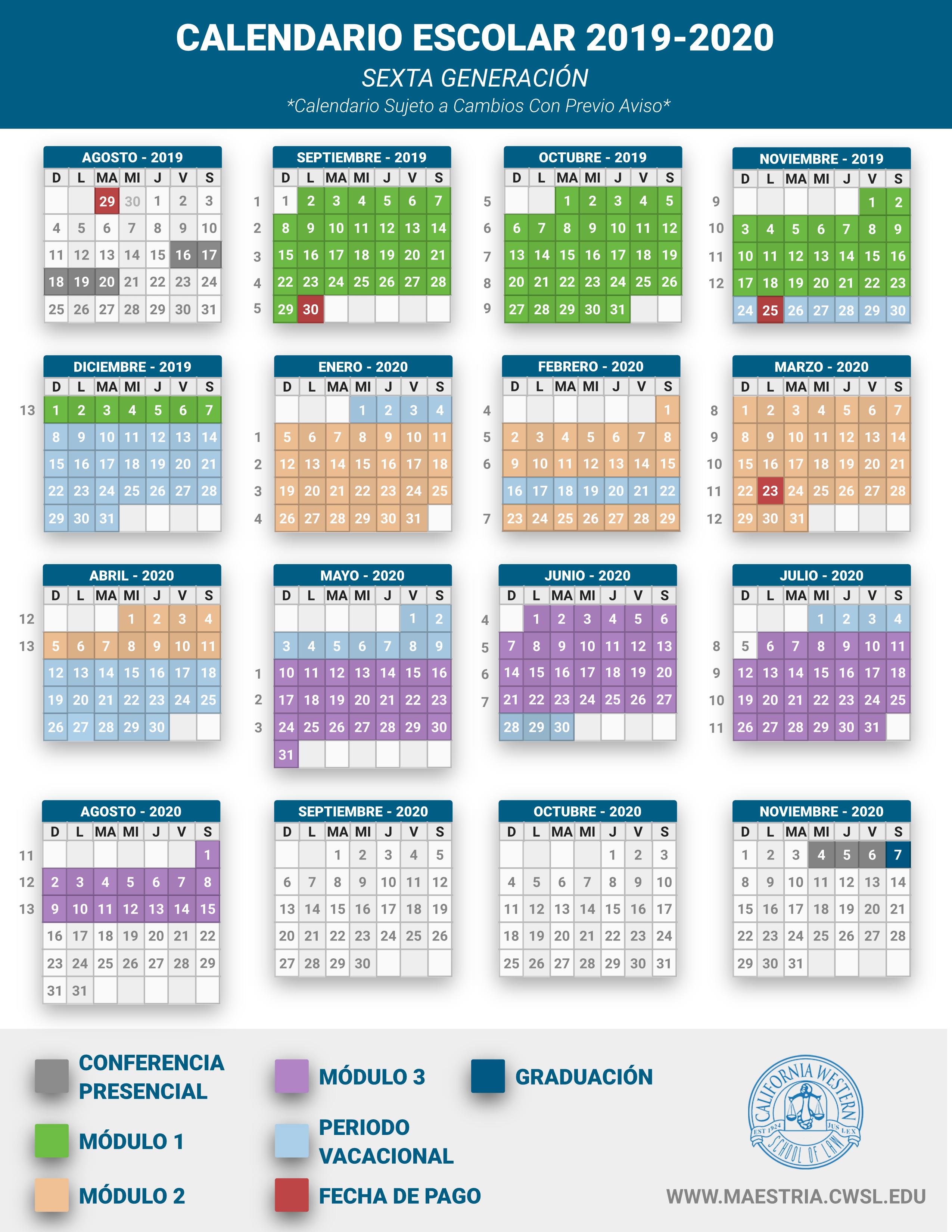 Calendario Escolar 2020 Colombia.Calendario Escolar 2019 2020 Maestria