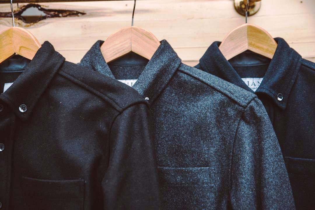 A row of Anian Modern Melton shirts, Anian, Modern Melton, Recycled Wool, EcoLuxLifestyle, Paul Wong, Helen Siwak, Vancouver, BC, YVR, Vancity