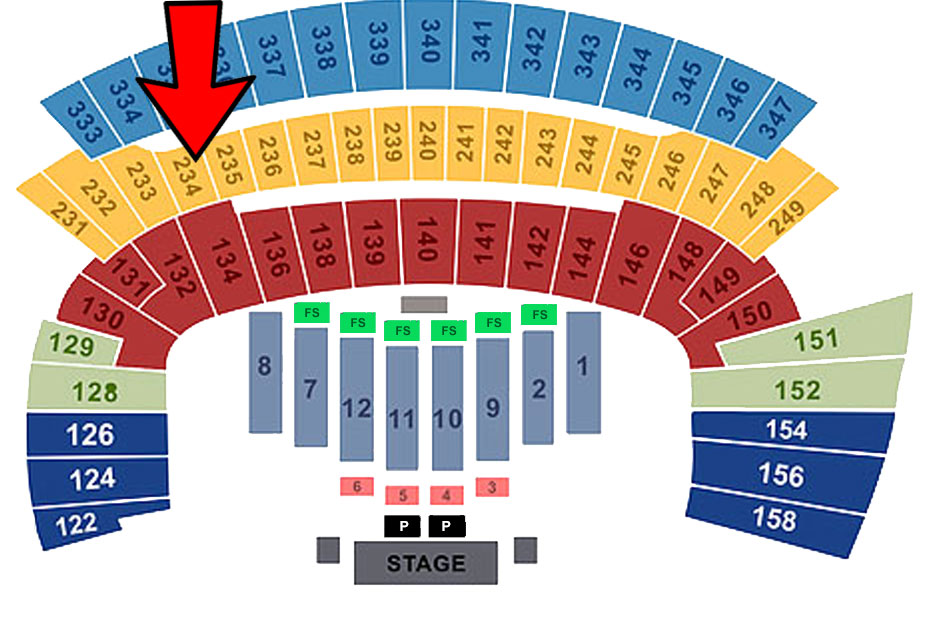 Saturday (Sec 234/Row 10/ Seat 1) End Seat