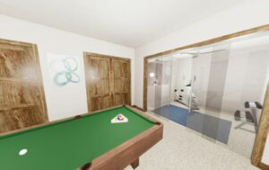 Pool Table and Exercise Room