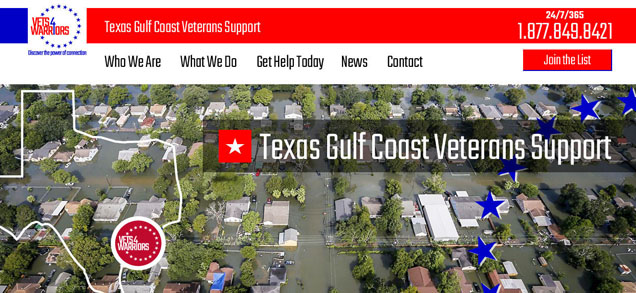 Vets4Warriors receives grant to help support Texas veterans affected by Hurricane Harvey.