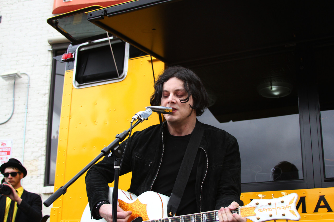 Jack White performs at the Third Man Records Rolling Record Store during South By Southwest in Austin, Texas on March 16, 2011.