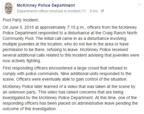 McKinney Police Department Statement