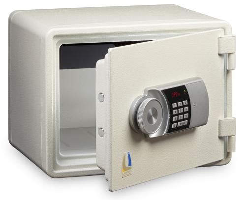 LOCKTECH Compact small fire resistant safes - model M015 white