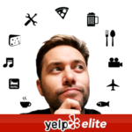 medium bust image of a thinking man looking at tech tools haloing around him with yelp elite logo