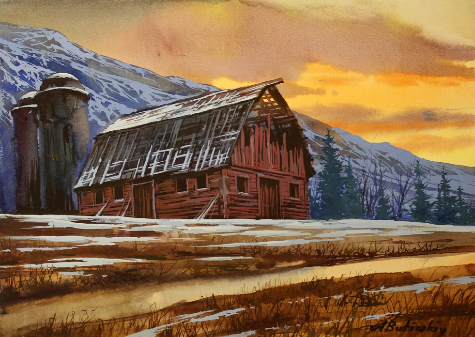 """The Old Red Barn - 14.5"""" x 10.5"""""""