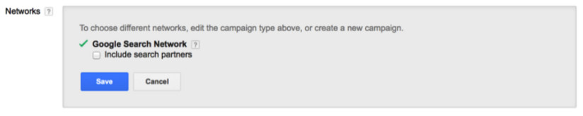 A check box in Google Adwords