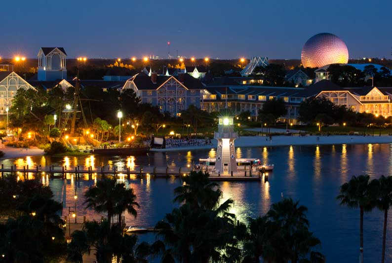 Walt Disney World Beach Club Resort at dusk   Start your Disney Travel Planning with Main Street Magic, LLC. Authorized Disney Travel Planners