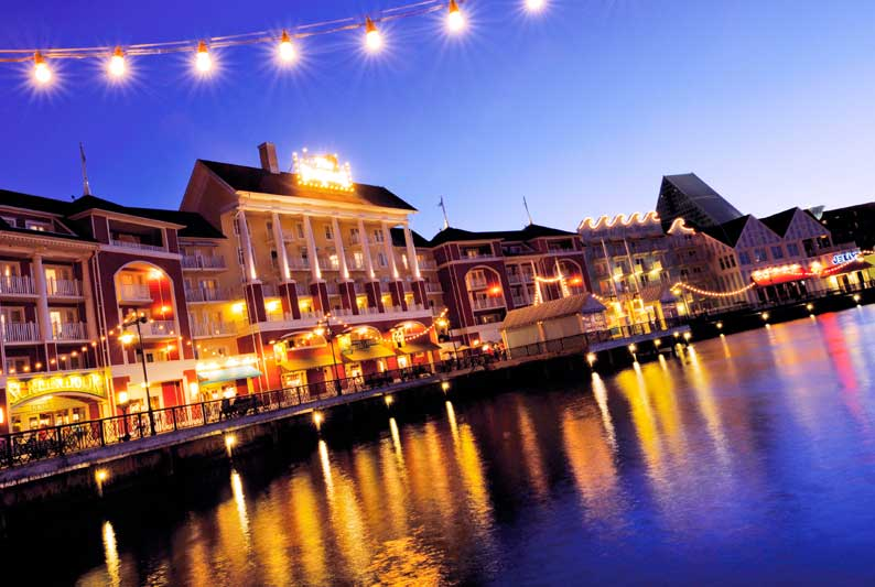 Walt Disney World Boardwalk at dusk | Start your Disney Travel Planning with Main Street Magic, LLC. Authorized Disney Travel Planners