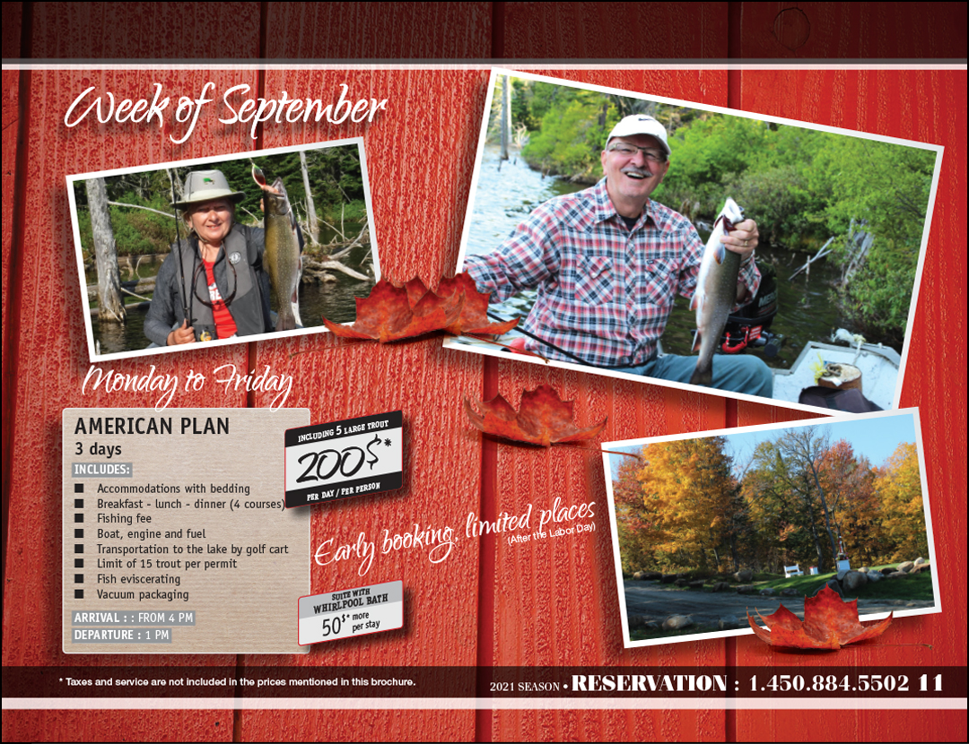 pourvoirie real masse flyer prices promotions special fishing golf 2021