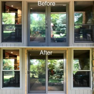 Original dark bronze aluminum windows and wood French door. Replaced with ProVia Aspect double hung windows in Sandstone color AND a Plygem Premiere Sliding Glass door with Earthtone color exterior and woodgrain interior